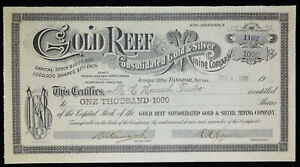 Stock Certificate Gold Reef Consolidated Gold Silver Mining Company 1905