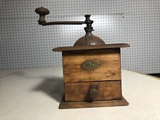 Antique French PEUGEOT FRERES Wood Coffee Grinder Coffee Mill