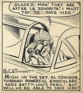 HAL FORREST Original TAILSPIN TOMMY Daily Comic Strip ART—Betty + El Condor 1941