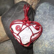 Angel Agate Heart Pendant - Hand Wrapped