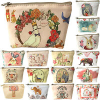 Womens Girl Floral Animal Card Key Coin Bag Mini Canvas Purse Small Wallet Pouch