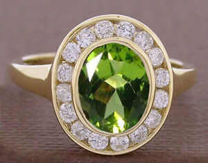 R238 Genuine 9K or 18K Gold Natural Oval Peridot & Diamond Halo Ring in yr size