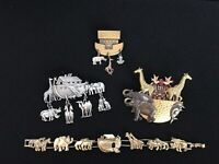 NOAH'S ARK Bracelet & 3 brooches costume jewelry collection Metals GoodCondition
