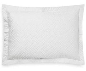 Ralph Lauren Greenwich Quilted Standard Sham 300TC Sateen Deco White NWT $130