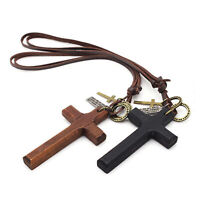 Vintage Wooden Cross Pendant Leather Rope Necklace Adjustable for Men Women