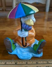 April Showers Easter Spring Plastic Duck with Umbrella Figurine