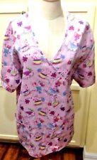 Carol's Scrubs Plus Size 1X Coffee Cups Butterflies Light Pink Lilac 2 Pockets