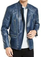 INC Mens Jacket Blue Size Small S Faux Leather Quilted Motorcycle $129 #030