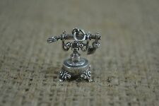 Vintage sterling silver elaborate traditional telephone charm with marks