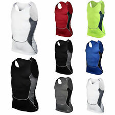 Men Compression Muscle Base Layers Vest Tank Top T-Shirts Fitness Gym Sports Tee