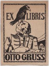 1920s Austrian  EX LIBRIS skull, memento mori