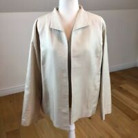 Eileen Fisher 100% Silk Quilted Lined Jacket Size Large Cardigan Lined MSRP $398