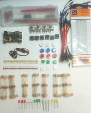 Basic Electronics starter kit, breadboard, power module, jumper box, cables, RGB