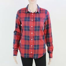 Jack Wills Womens Size 10 Red Blue Check Cotton Long Sleeve Shirt