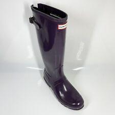 Hunter Original Back Adjustable Gloss Boots UK9 EU43 Purple Wellies (1347 C2)
