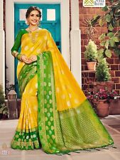 Indian Sari Saree & Blouse Party Wear Yellow Woven Banarasi Art Silk -1577