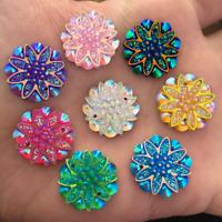 NEW 10PCS 18mm AB Resin flower Rhinestone Flatback Wedding Buttons 2 hole crafts