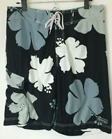Billbong Men's Board Shorts Black w Gray & White Hibiscus. Wax Comb. Size 33