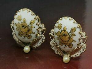 Coralene glass Coating hand-painted Rose Gold On Filigree Earrings (60B)