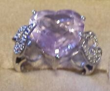Genuine Pink Lavender 13mm Heart Amethyst and Diamond Ring 10k White Gold Size 6