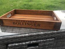 More details for 48cm bollinger champagne vintage style wooden tray