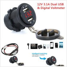 Car Motorcycle 12V 3.1A Dual USB Charger Socket Red LED Light Voltage Voltmeter
