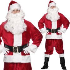 De Luxe Peluche Costume Père Noël Déguisement Adultes + Chapeau