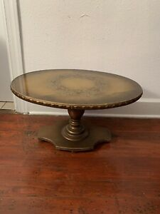 Vintage Victorian American Wood Glass Tap Oval Coffee Table