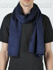 GUCCI men blue & navy GEM Original GG 100% wool muffler scarf NWT Authentic $285