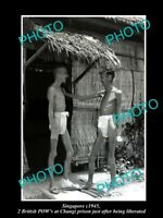 OLD LARGE HISTORIC PHOTO OF SINGAPORE, LIBERATED CHANGI PRISON POWs c1945
