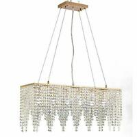 Hanging Rose Gold Rectangle Island Crystal Chandelier Pendant Lighting Ceiling