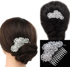 Peacock Feather Crystal Diamante Flower Leaves Hair Comb Wedding Clip Slide