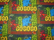 Sesame Street Elmo Cookie Monster Football Hustle on Cotton FLANNEL By The Yard
