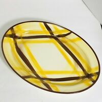 Vernonware Organdie Plaid Platter 12 1/2 x 9 Yellow and Brown Hand Painted