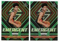 2x 2018-19 Panini Prizm ANFERNEE SIMONS Emergent GREEN Prizm Rookie Card!