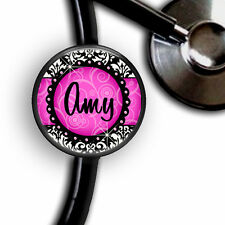 PINK DAMASK PERSONALIZED STETHOSCOPE ID TAG