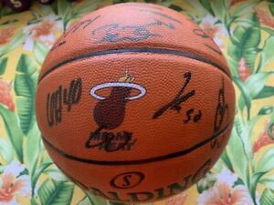 Lebron James 2013-2014 Miami Heat Autographed Team Signed Basketball D Wade COA