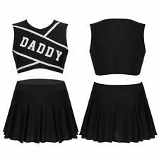 2Pcs Women Cheerleader Costume School Girl Outfits Fancy Dress Skirt Uniform