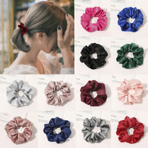 Plain Satin Silk Scrunchie Women Simple Stretchy Hair Ties Rope Ring Rubber Band