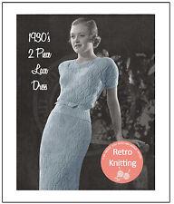 Années 1930 deux pièces dentelle robe VINTAGE KNITTING PATTERN copie