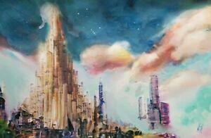 Original Asgard Norse Mythology City Landscape Cityscape Comic Wall Art Painting