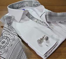 Statement French Cuff Dress Shirt Men XL Cotton Necktie Pocket Square Cufflink