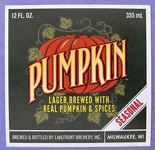 Lakefront Brewery PUMPKIN - SEASONAL beer label WI 12oz Silver border