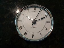 "3-1/8""(80MM QUARTZ CLOCK FIT-UP/Insert,Silver Trim,Roman Numeral,White Face,HMS"