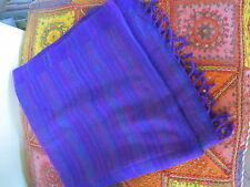 Warm soft large PURPLE striped Hill Queen shawl wrap from India. Great gift!.