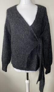 COS Mohair Wool Chunky Knit Wrap Cardigan Jumper Dark Grey Size XS BNWOT