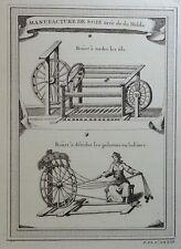 Gravure Antique Print XVIIIe Manufacture de Soie tirée de du Halde J. N. Bellin
