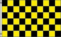 YELLOW and BLACK 3x5 Polyester Nascar Race CHECKERED Flag