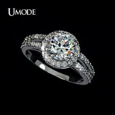 Wt Gold plated 2 carat AAA+ Cubic Zirconia 2 Bands Halo Engagement 5-,6.25-,7.5