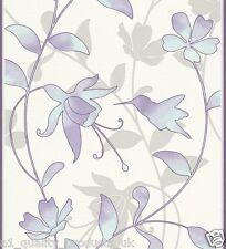 Rasch Wallpaper, Embossed Summer Floral Effect, Teal Purple Flowers, BNIB 451252